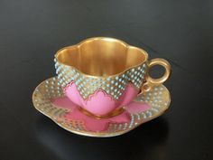 Coalport UK 1920 pink and turquoise dot with gold interior tea cup Antique Tea Cups, Vintage Cups, Vintage Tea, Cup And Saucer Set, Tea Cup Saucer, Teapots And Cups, Teacups, Cuppa Tea, China Tea Cups