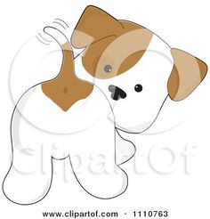 Clipart Cute Puppy Looking Back And Wagging His Tail - Royalty Free Vector Illustration by Maria Bell Applique Templates, Applique Patterns, Applique Quilts, Applique Designs, Embroidery Applique, Quilt Patterns, Dog Crafts, Felt Crafts, Sewing Crafts