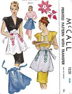 1940s Misses Half Apron Vintage Sewing Pattern by MissBettysAttic