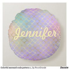 Colorful mermaid scale pattern custom name round pillow Colorful Pillows, Soft Pillows, Throw Pillows, Custom Pillows, Decorative Pillows, Mermaid Nursery, Round Pillow, Mermaid Scales, Pink Aesthetic
