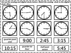 FREE & PRINTABLE time matching activity for students