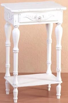 Carved White Accent Table, Side, End Cottage Chic Night Stand with Drawer, Shelf #Unbranded #Colonial