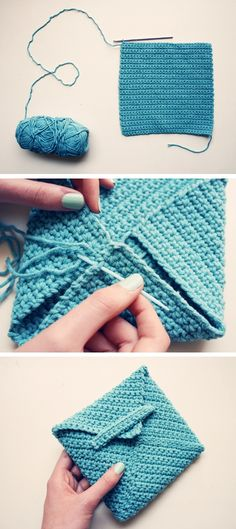 "Crochet me a letter, crocheted envelope - the link does not supply the pattern but it looks like all single crochets until you have a square (you pick the size of the square. Whip stitch the ""envelope"" corners and create a tab to tuck the 4th corner into.."