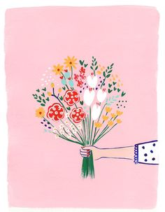 cute and colorful flower bouquet illustration