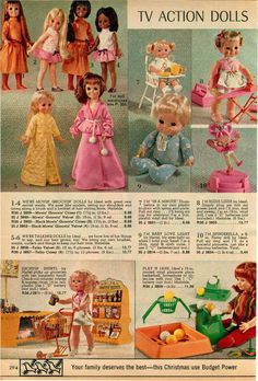 1971 ADVERT Mattel Ideal Dolls Shoppin Sheryl Play 'N Jane Movin Groovin Black