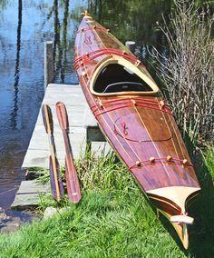 Wooden Kayak Laughing Loon, Mystic Star baidarka wood strip sea kayak, most beautiful boats in the world Wooden Kayak, Wooden Sailboat, Wooden Boat Building, Boat Building Plans, Building Ideas, Jon Boat, Cool Boats, Small Boats, Canoe And Kayak