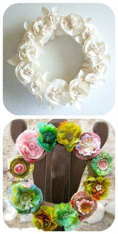 Butcher Paper Wreath Tutorial ~ This all-white spring wreath is made completely from butcher paper – A beautiful and inexpensive way to spruce up a door or room.