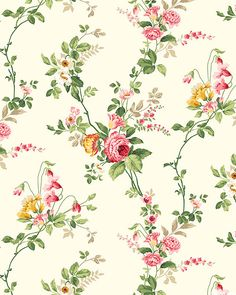 Charlotte - Wispy Wild Rose - Cream Flower Backgrounds, Flower Wallpaper, Pattern Wallpaper, Vintage Flowers, Vintage Floral, Beautiful Flowers Wallpapers, Floral Printables, Cream Roses, Small Flowers