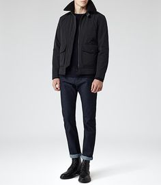 Fur trim bomber jacket .... Mens Navy Padded Aviator Jacket - Reiss Caleb