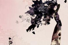 black ink cat lady tree