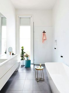 Love the tub. The Block room reveals: bathroom reno checklist. Styling by Heather Nette King. Photography by Derek Swalwell. Diy Interior, Bathroom Interior, Modern Bathroom, Small Bathroom, Grey White Bathrooms, Grey Floor Tiles Bathroom, Bathroom With Window, The Block Bathroom, Bathroom Windows