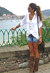 Shorts and Boots .... demins and white shirt ... always a sexy look