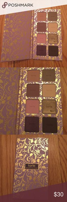 Tarte eyeshadow palette Never used!! Tarte colored clay eyeshadow palette. This palette has a gorgeous array of eyeshadow colors. From left to right the colors are pinky promise, top of the world, you look mauveless, just malt away, pampered pink, dare to be gold,show plum love and wind down brown. There's a small nick in the dare to be cold. I have the plastic piece that goes over the eyeshadows to label the color but it was hard to see when taking a photograph. You will not be disappointed…