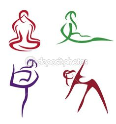 Yoga poses  symbols set in simple lines part3 — Stock Vector #5414671