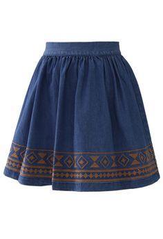 Aztec Stitch Denim Skater Skirt Navy - Skirt - Bottoms - Retro, Indie and Unique Fashion