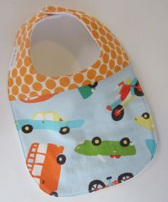 From one of favorite fabrics! Baby BOY Bibs #Retro #Cars #Motorcycle