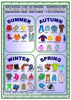 CLOTHES AND SEASONS-PICTIONARY worksheet - Free ESL printable worksheets made by…