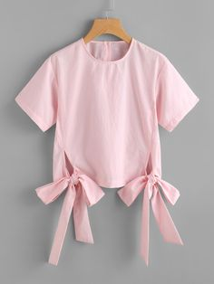 SheIn offers Bow Tie Hem Blouse & more to fit your fashionable needs. Girls Fashion Clothes, Teen Fashion Outfits, Kids Outfits, Fashion Dresses, Crop Top Outfits, Cute Casual Outfits, Stylish Tops, Stylish Dresses, Diy Kids Shirts