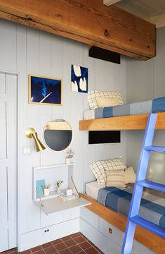 The bunk beds are original only repainted and treated to updated detailing. Tagged: Bedroom, Bunks, Wall Lighting, Terra-cotta Tile Floor, and Night Stands. Photo 12 of 15 in A Hudson Valley Home's Renovation Is Guided by its Best Midcentury Feature Hudson Homes, Funky Home Decor, Kid Decor, Mid Century House, Elle Decor, Modern Bedroom, Decoration, Home Renovation, Bunk Beds