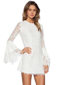 White Long Sleeve Flouncing Lace Dress $30.83