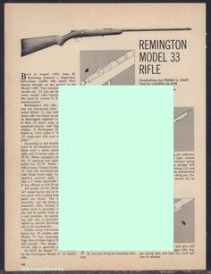 1973 REMINGTON Model 33 Rifle Exploded Parts List 2-pg Assembly Article