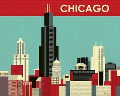 Chicago, Illinois Skyline -  Destination Wall Art Poster Print for Home, Office, and Nursery - style E8-O-CH12