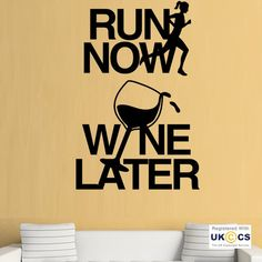 Run Now Wine Later Fitness Gym Wall Art Stickers Decals Vinyl Home Room Decor | eBay