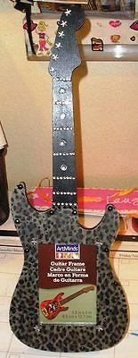 Embellished Animal Print Wood Guitar Picture Frame