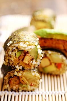 Vegan Quinoa Sushi with Tofu Steaks and Chickpea Bean Egg - Grains and Legumes, Recipes - Divine Healthy Food