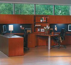 The Office Leader. Transitional Lamimate Mayline Aberdeen 2 Person Workstation, Peninsula Office Desk Workstation with Overhead Storage U Shaped Office Desk, Office Workspace, Furniture Deals, Office Furniture, Two Person Desk, Home Office Design, House Design, Work Station Desk, Work Stations