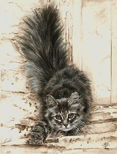 cat - interesting paint style from the artist at this link, lots of greys with splashes of color.