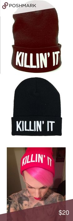 Jeffree Star Killin' It beanie black Like new! The one and only Jeffree star's clothing line paper alligator beanie! Get it before it is discontinued! paper alligator Accessories Hats