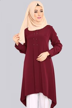 Verev Kesim Tunik PL815 Bordo Modele Hijab, The Dress, Hijab Fashion, Dresses With Sleeves, Gowns, Couture, Blouse, Long Sleeve, Womens Fashion