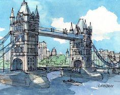 Impresión de la acuarela original de arte de Londres por AndreVoyy