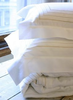 """Pratesi - """"Linee`"""" Embroidery on White Linen with Beige Embroidery PratesiABC@pratesiusa.com"""