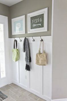 Board + batten and hooks for behind the mud room door