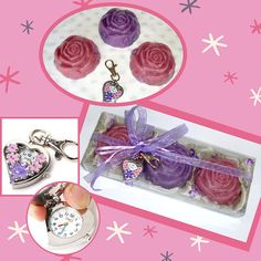 Exclusive Luxury Purple Handmade Gift Set with three different shades of purple-violet-lilac-lavender color Glycerin Scented Soaps and a lovely pink-lilac Flower Heart Quartz Pocket Watch Stainless Steel Key Ring in the packaging. The soaps are in a beautiful raspberry-berries scent. An extraordinary, very elegant, fashion gift for a young lady! Ideal as Birthday Gift or Graduation Gift for a teen girl. A special gift set for a special girl - she will adore it!!