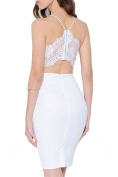 Charmed Lace Back Dress - White