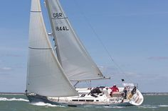 The Jeanneau Sun Odyssey 49i yacht 'Passim' competing in the 2013 J.P. Morgan Asset Management Round the Island Race.