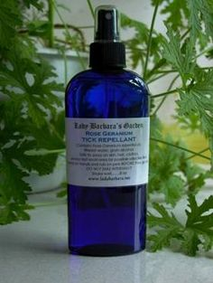 Based on Rose Geranium Essential oil, it was the only essential oil with insect repelling qualities that actually made live deer ticks RUN. Yes, I tested it myself, YEARS ago, with live ticks I pulled off my cat. Everything else they just marched THROUGH, Rose Geranium made them LEAVE – over and over.