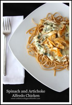Spinach & Artichoke Alfredo Chicken is the BEST Alfredo Sauce youll ever taste!  Easy dinner time meal.  by whatscookingwithruthie.com #recipes #chicken #pasta