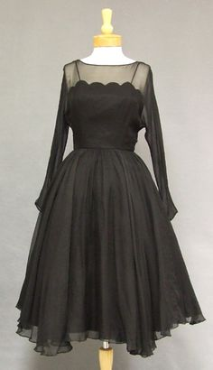 Vintageous, LLC - Elegant Black Chiffon 1950's Cocktail Dress w/ Scalloped Illusion Bodice, $159.00 (http://www.vintageous.com/elegant-black-chiffon-1950s-cocktail-dress-w-scalloped-illusion-bodice/)
