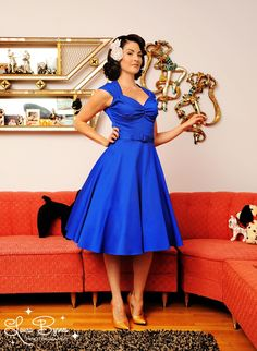 Heidi Dress in Royal Blue with Matching Belt - Inspired by vintage swing dresses, but feeling totally modern, the Heidi continues to be one of our favorite styles with its angular neckline and full swing skirt. The high quality stretch cotton sateen is a pleasure to wear and accentuates all your delicious curves. The Royal Blue version is so bright, so vibrant, you will feel truly regal! Shown here with a petticoat for extra fullness, but wears just as nicely without.