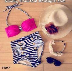 Vintage Retro High Waist Swimsuit - Dark Pink Top and Black and White Zebra Bottom - HW7 - Smoky Mountain Boutique