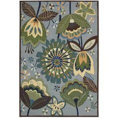 Rug Squared Laurel Aqua Rug (8' x 10'6) (8' x 10'6), Blue, Size 8' x 11' (Polyacrylic, Floral)