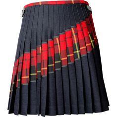 Siobhan Mackenzie Signature Red Tartan Kilt ($420) ❤ liked on Polyvore featuring skirts, red tartan and black, tartan pleated skirts, wrap around skirt, shiny skirt, red knee length skirt and tartan skirt