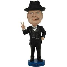 Winston Churchill Bobblehead by Royal Bobbles  Over 8 tall, heavyweight polyresin construction;Finest quality Winston Churchill bobblehead ever produced;Removable rubber hat accessory;Ships in colorful collectors box, with molded styrofoam protection;Highly #Collectible...