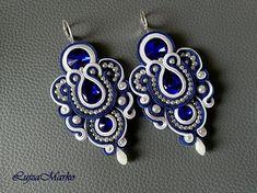 Soutache white&blue long earrings