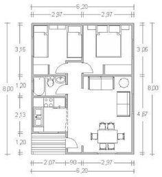 Resultado de imagem para croquis de casas de 60 metros cuadrados #casasrusticaschicas #casaspequeñasplanos #Casasdecampo