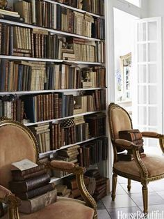 An Antique-Filled Victorian House in Illinois: In the library, antique fauteuils stand against a bookcase made from a salvaged door surround. Attic Renovation, Attic Remodel, Home Library Design, House Design, Attic Design, Home Libraries, Public Libraries, Attic Rooms, Attic Apartment